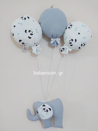 Κρεμαστό  Banner  <<Ελεφαντάκι με  panda Μπαλόνια>>