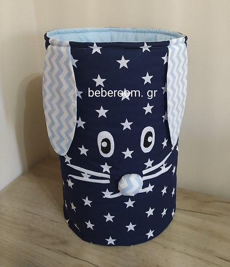 Πάνινο Καλάθι Πολλαπλών Χρήσεων  Mε Χερούλια  << blue -white big stars >>