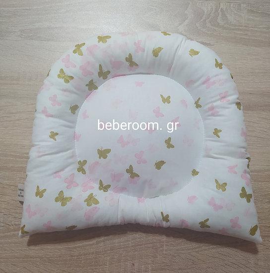 Μαξιλαράκι Ύπνου Ροζ & Glitter Χρυσές Πεταλουδίτσες