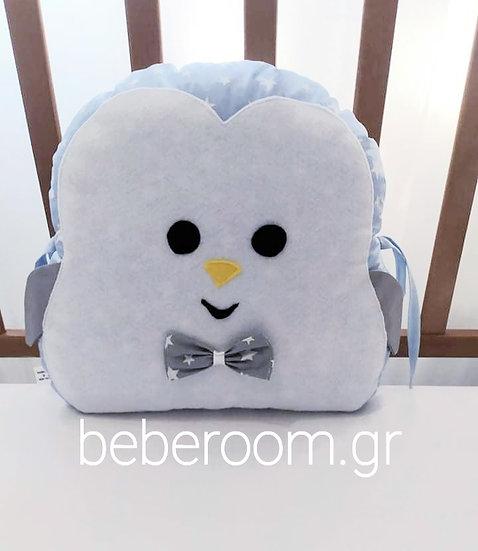 Διακοσμητικό Mαξιλάρι  <<penguin>>Σιέλ με λευκά αστεράκια