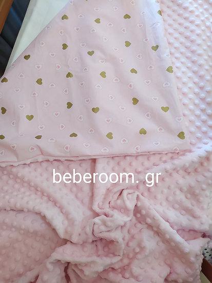 Κουβερτούλα Αγκαλιάς  2πλής Όψεως  minky << ροζ & glitter καρδούλες >>