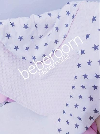 Κουβερτούλα Αγκαλιάς  2πλής Όψης Βελουτέ minky Ροζ -Γκρι Μεγάλα Αστεράκια
