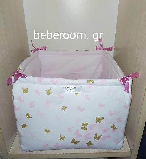 Πάνινο Τετράγωνο Καλαθάκι  Καλλυντικών Μπάνιου <<ροζ & glitter πεταλουδίτσες>>>>