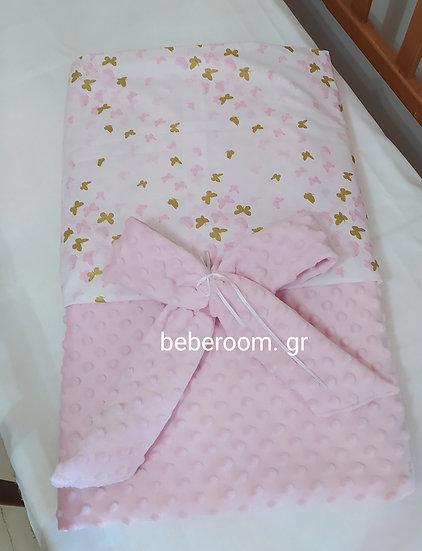 Κουβερτούλα Αγκαλιάς 2πλής Όψης Βελουτέ minky Ροζ & Glitter Χρυσές Πεταλούδες