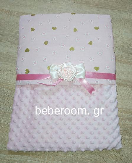 Κουβερτούλα 2πλής Όψεως  Απαλή minky  <<ροζ - καρδούλες glitter>>