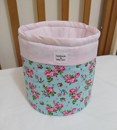 Πάνινο  Καλαθάκι  Καλλυντικών Μπάνιου Floral Mint
