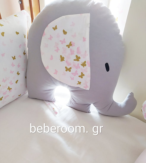 Διακοσμητικό Μαξιλάρι  JUMBO Elefant Glitter Butterflies