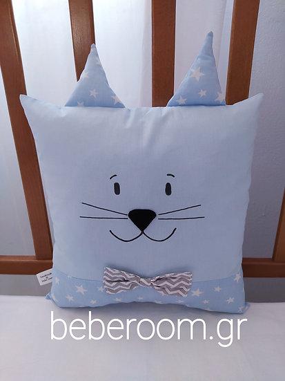 Διακοσμητικό Μαξιλάρι <γάτος> λευκό-σιέλ