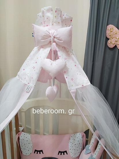 Κουνουπιέρα Κούνιας  <<ροζ & glitter αστεράκια με πουά >>