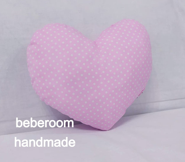 Μαξιλαράκι καρδούλα ροζ  μωβ έντονο πουά