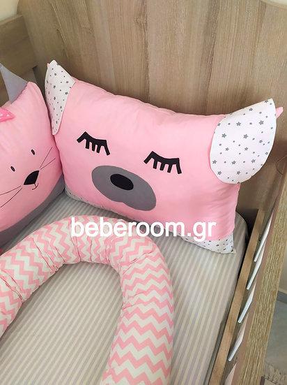 Μαξιλάρι Προσκέφαλου  Σκυλάκι << ροζ έντονο-λευκό με αστεράκια γκρι>>