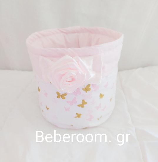 Πάνινο Στρόγγυλο Καλαθάκι  Καλλυντικών Μπάνιου <<pink butterflies >>