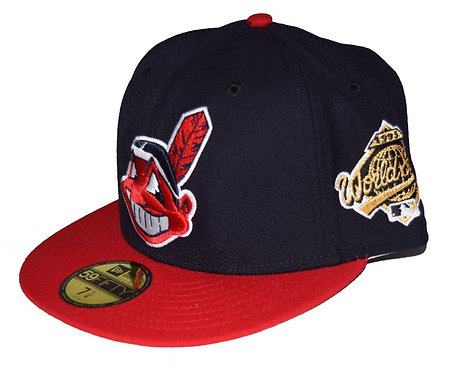 """NEW ERA """"Cleveland Indians Fitted Cap""""(Sidepatch 有り World Series 1995)"""