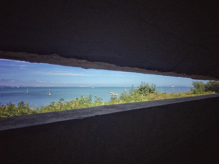 Studland Bay from inside Fort Henry