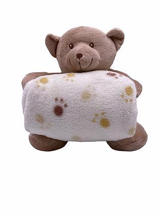 Ourson beige et sa couverture