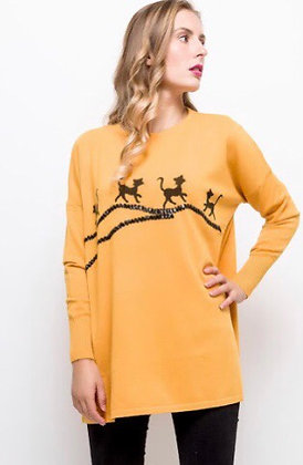 Pull dame oversize thème  chat