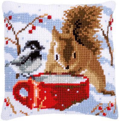 Kit couss au point de croix écureuil  et mésange  en hiver