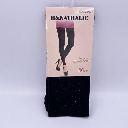 Leggings  noirs avec strass au bas de la jambe