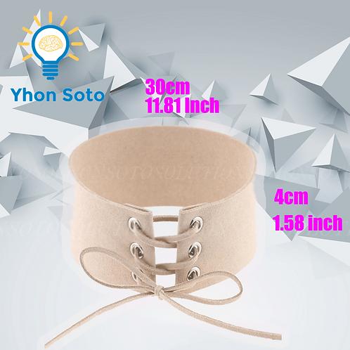 Beige Ribbon Leather Choker [Pack of 1]