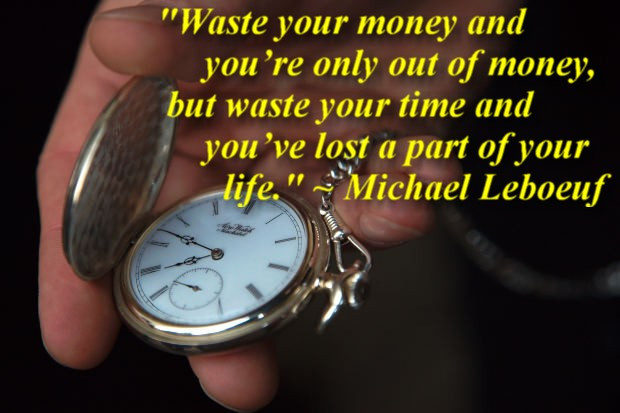 Waste your money and you're only out of money, but waste your time and you've lost part of your life. Michael Leboeuf