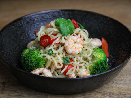 Garlic, Lime and Ginger Prawns with Noodles