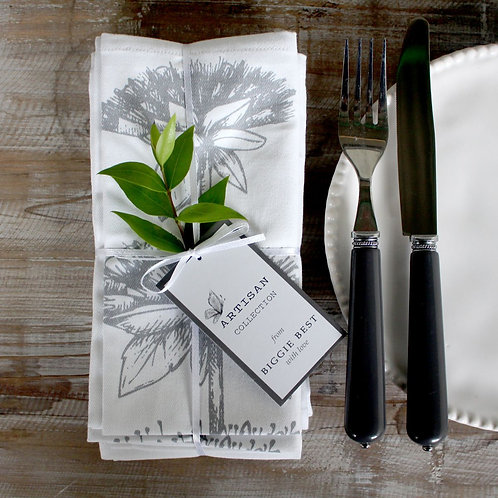 Set of 4 Herb napkins - White