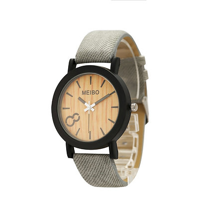 Wood Style Watch -  Black or Grey Strap