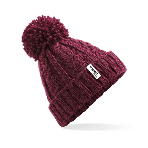 Cable Knit Beanie - Burgundy