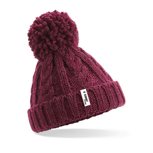 Infant's Cable Knit Beanie - Burgundy