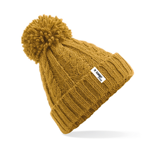 Cable Knit Beanie - Mustard