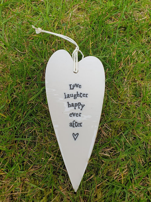Long porcelain Heart - Love Laughter Happy ever after