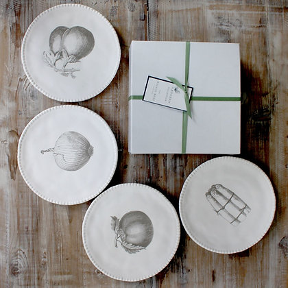Vegetable Stoneware Side Plates set of 4