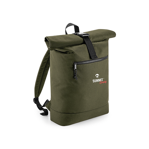 Recycled Roll Top Backpack - Green (TRADE)