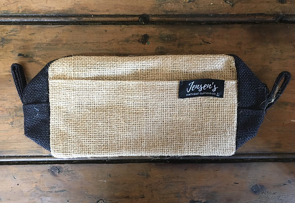 Jute Toiletry Bag - Natural/Black