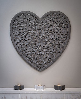 Grey Heart Carved Wall Panel