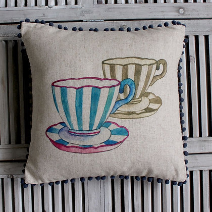 Tea Cup Pom Pom Cushion