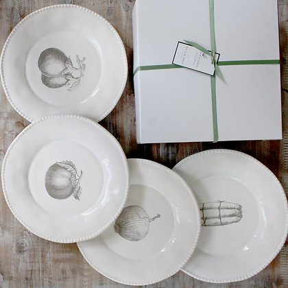 Vegetable Stoneware Dinner Plates set of 4