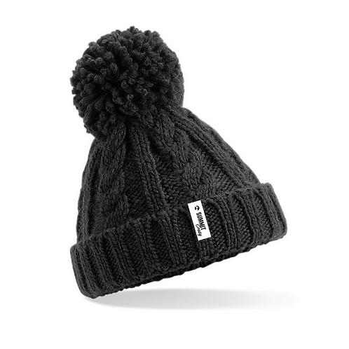 Junior Cable Knit Beanie - Black