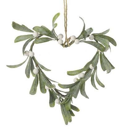 Hanging Mistletoe Heart Decoration