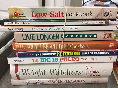 Cookbooks low salt light pasta South Beach ketogenic Paleo weight watchers