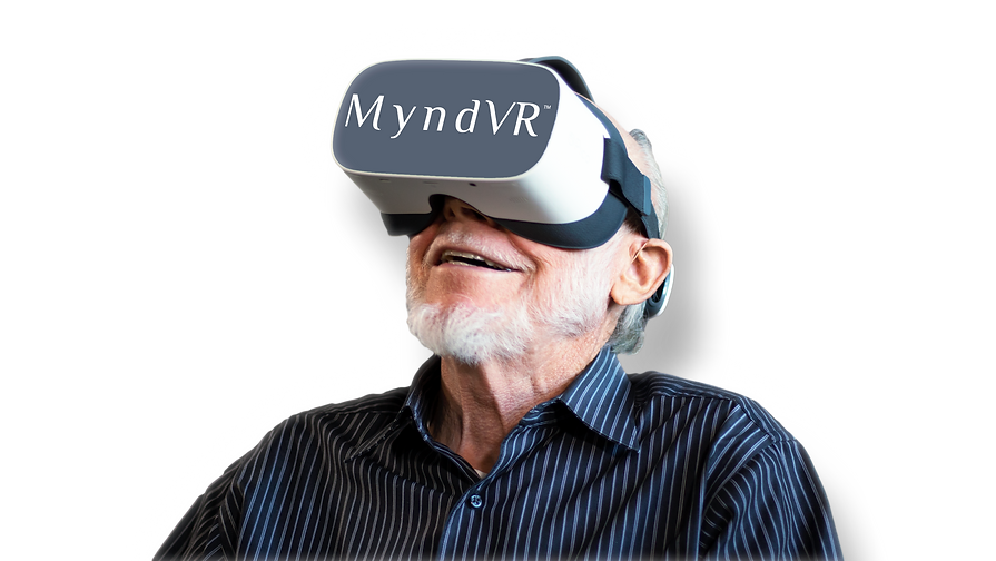 A senior MyndVR participant enjoying his virtual reality experience.