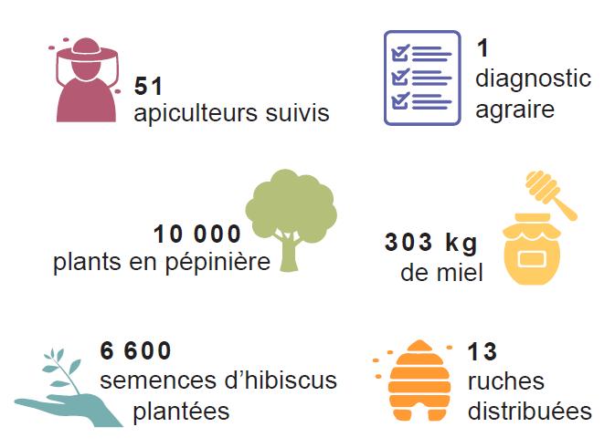 Bilan 1er semestre 2018 6 600 semences d'hibiscus plantées 10 000 plants en préparation dans la pépinière 1 diagnostic agraire réalisé 13 ruches distribuées 51 apiculteurs suivis 303 kg de miel de miel vendus sur le marché local 3 nouveaux jardins pédagogiques