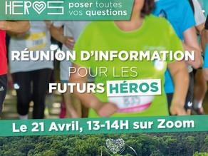 RDV le 21 avril de 13h à 14h - Réunion d'information pour les futurs Héros - Course des Héros 2021