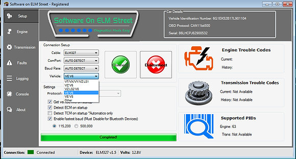Engine and Trans Diagnostics with ELM327 Cable SOE