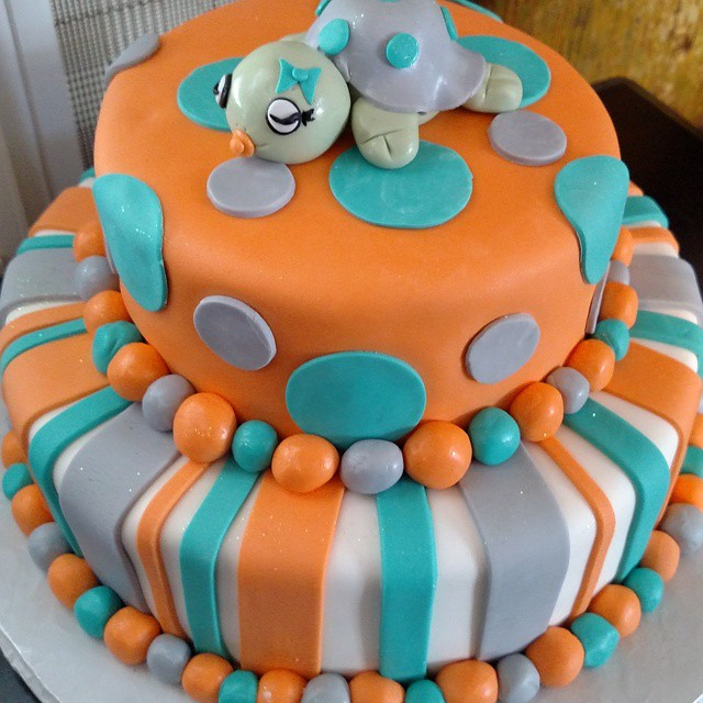 Instagram - #sweetchefpastries #customcake #babyshower #turtle #orange #aqua #grey #vanillacake #alm