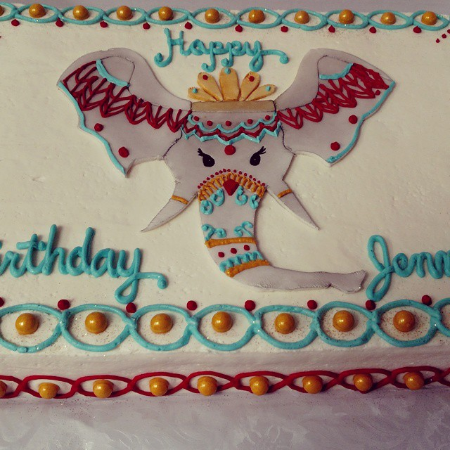 Instagram - #sweetchef #birthdaycake  #birthday #henna #elephant #fondant  #gold #aqua #saffron