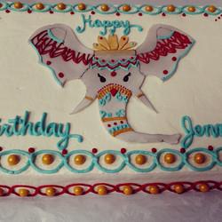 Instagram - #sweetchef #birthdaycake  #birthday #henna #elephant #fondant  #gold #aqua #saffron