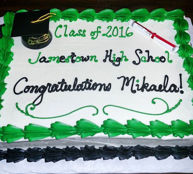 #sweetchef #sweetchefpastry #graduation #classof2016 #jamestownhighschool #green #black #white #choc