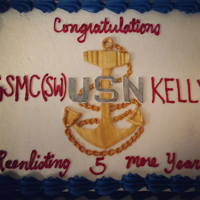 Instagram - #sweetchef #almondcake #amarettobuttercream #navy #usn #armedforces #reenlistment #chief