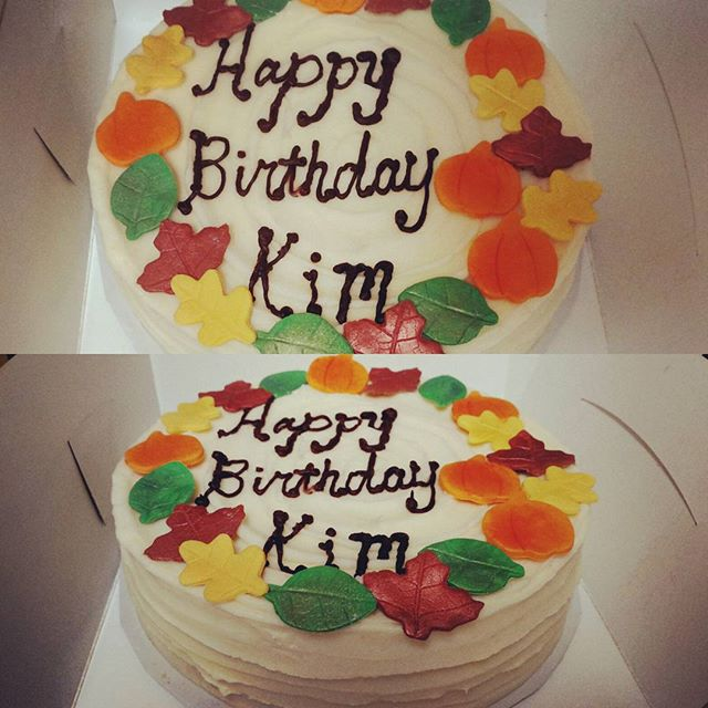 #sweetchefpastries  #layercake #birthday #pumpkincake #creamcheeseicing #fondant #leaves #pumpkins #